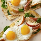 Pear Spinach and Egg Flatbread