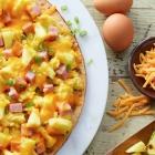 Hawaiian Scrambled Egg Pizza